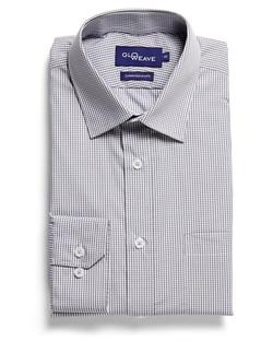 Mens 1637L LS Gingham Check Shirt Grey