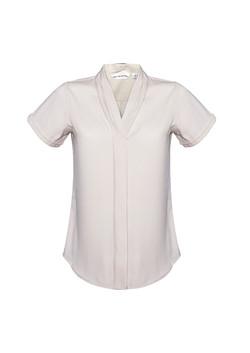S628LS Ladies Madison Short Sleeve Blouse Ivory