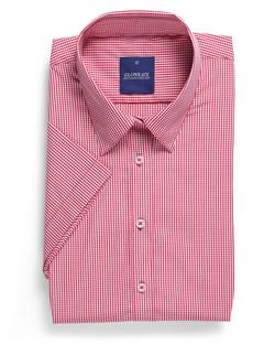 Ladies 1637WS SS Gingham Check Shirt Crimson
