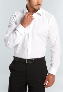 Mens 1716L LS Oxford Weave Shirt White A