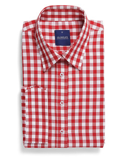 Ladies 1710WL Royal Oxford Gingham Shirt Red