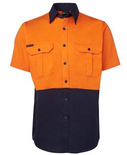 6HWS Hi Vis SS 190G Shirt Orange-Navy