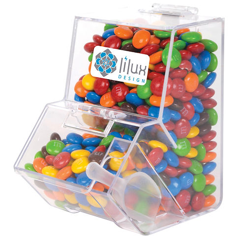 550 grams of assorted colour milk chocolate M&M's (Green, Red, Orange, Yellow, Brown and Blue) shrink wrapped in clear dispenser with scoop.