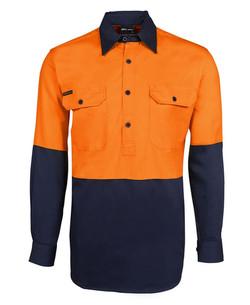 6HVCF Hi Vis LS 190g Close Front Shirt Orange-Navy