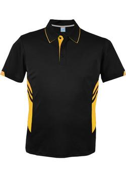 AP 1311 Mens Tasman Polo Black-Gold