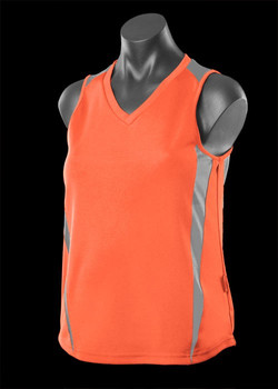 2104 Ladies Eureka Singlet Orange-Charcoal