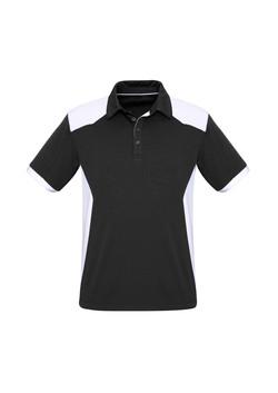 Biz P705MS Mens Rival Polo Shirt Black_White