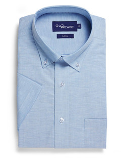 Mens 1015S SS Oxford Weave Blue Shirt