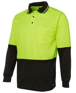 6HVPL Hi Vis LS Traditional Polo Lime-Black