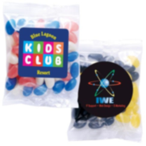 50 grams cello bag of Corporate Colour Mini Jelly Beans. Your choice of jellybeans, choose from 9 great colours and flavours - Orange (Orange), Pink (Raspberry), White (Lychee), Red (Strawberry), Green (Apple), Yellow (Lemon), Black (Aniseed), Purple (Grape), Blue (Blueberry).