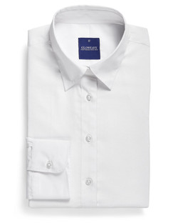 Ladies 1708WL LS Textured Plain Shirt White