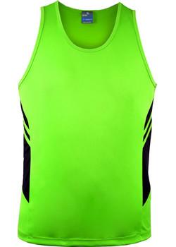 AP 1111 Mens Tasman Singlet Fluro Green-Black.jpg