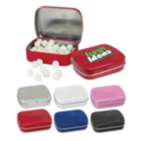 Rectangular tin with a hinged lid which is filled with 23 grams of Signature peppermints. Ingredient information is included on the base of the tin and it is shrink wrapped to seal in freshness. A production lead time of 15 working days applies to this product. This item can only be ordered in the quoted order quantities.