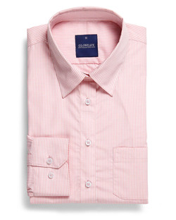 Ladies 1637WHL LS Gingham Check Hospitality Shirt Pink