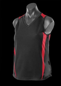 2104 Ladies Eureka Singlet Black-Red