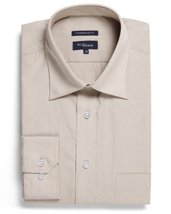 Mens 1267L LS Puppy Tooth Check Shirt Taupe