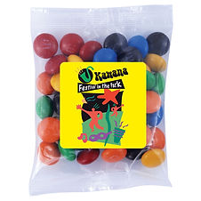 50 gram cello bag of assorted colour milk chocolate M&M's (Green, Red, Orange, Yellow, Brown and Blue).