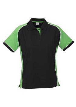 p10122 Ladies Nitro Polo Black-Green-White
