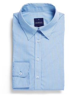 Ladies 1637WL LS Gingham Check Shirt Sky