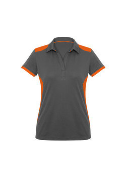 Biz P705LS Ladies Rival Polo Shirt Grey_Orange