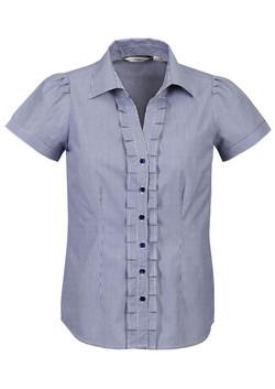 S267LS Ladies Short Sleeve Blue