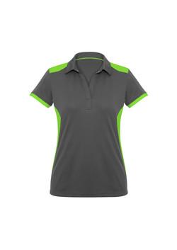 Biz P705LS Ladies Rival Polo Shirt Grey_FluroLime