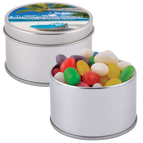 50 gram cello bag of Assorted Mini Jelly Beans packed in 2 piece silver Round Tins. Mix of 9 great colours and flavours - Orange (Orange), Pink (Raspberry), White (Lychee), Red (Strawberry), Green (Apple), Yellow (Lemon), Black (Aniseed), Purple (Grape), Blue (Blueberry).