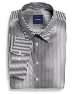 Ladies 1376WS SS Bold Stripe Shirt Charcoal