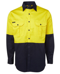 6HWL Hi Vis LS 190G Shirt Yellow-Navy