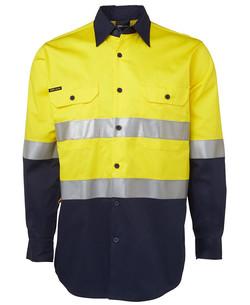 6DNWL Hi Vis LS (D+N) 150G Work Shirt Yellow-Navy