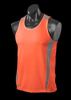 1104 Mens Eureka Singlet Orange-Charcoal