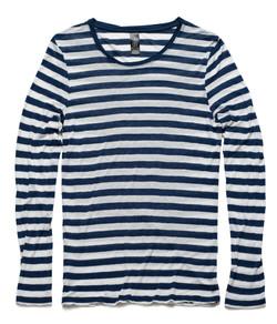 Fine Long Sleeve Stripe Tee 4027 Navy_White