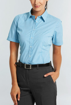 Ladies 1637WS SS Gingham Check Shirt Teal A