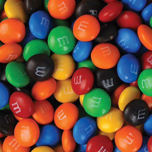 Bulk assorted colour milk chocolate M&M's (Green, Red, Orange, Yellow, Brown and Blue).