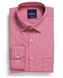 Mens 1637HL LS Gingham Check Hospitality Shirt Crimson