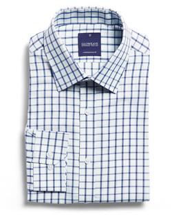 Mens 1712L LS Window Pane Check Shirt Blue