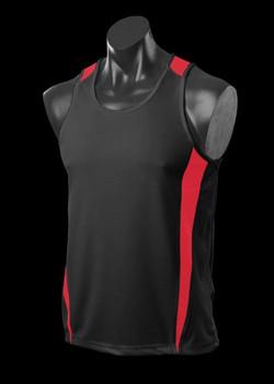 1104 Mens Eureka Singlet Black-Red
