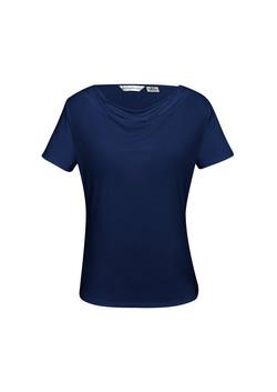 K625LS Ava Drape Knit Top Midnight Blue