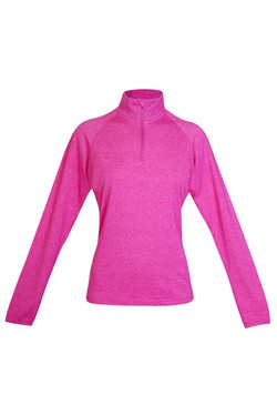 F389LD Ladies Greatness Half Zip Mock Neck Hot Pink Heather.jpg