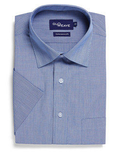 Mens 1267S SS Puppy Tooth Check Shirt Blue