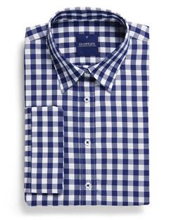 Ladies 1710WL Royal Oxford Gingham Shirt Navy