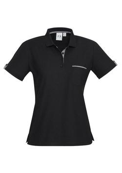 p305ls Ladies Edge Polo Black-Check