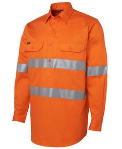 6HWCF Hi Vis (D+N) Close Front LS 190g Shirt Orange