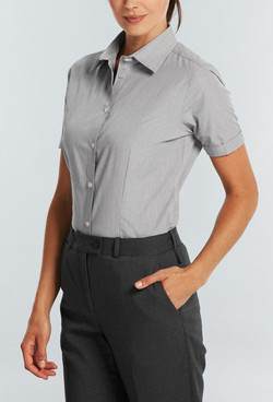 Ladies 1267WS SS Puppy Tooth Check Shirt Black A
