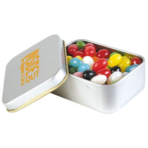 50 gram cello bag of Assorted Mini Jelly Beans packed in 2 piece silver rectangular tin with gold tin lining and gold rolled rim. Mix of 9 great colours and flavours - Orange (Orange), Pink (Raspberry), White (Lychee), Red (Strawberry), Green (Apple), Yellow (Lemon), Black (Aniseed), Purple (Grape), Blue (Blueberry).
