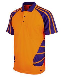 6HSP Hi Vis SS Spider Polo - Orange-Purple