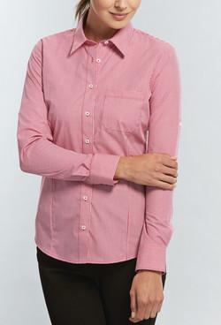 Ladies 1637WHL LS Gingham Check Hospitality Shirt Crimson A