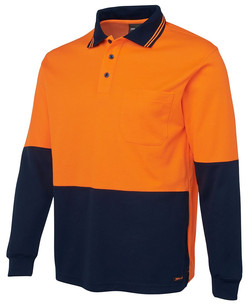 6HPL Hi Vis LS Cotton Back Polo Orange-Navy