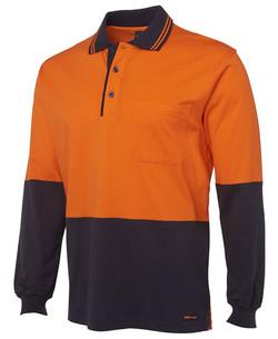 6CPHL Hi Vis LS Cotton Polo Orange-Navy