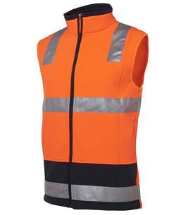6D4LK Hi Vis (D+N) Softshell Vest Orange-Navy